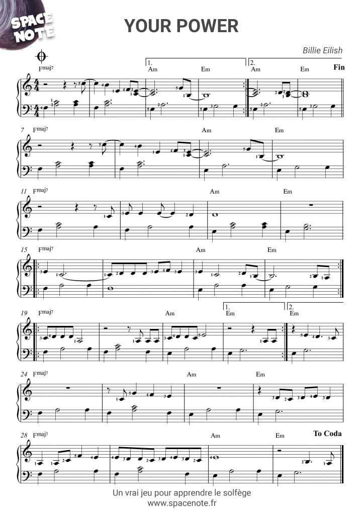 Partition piano Billie Eilish  Your Power